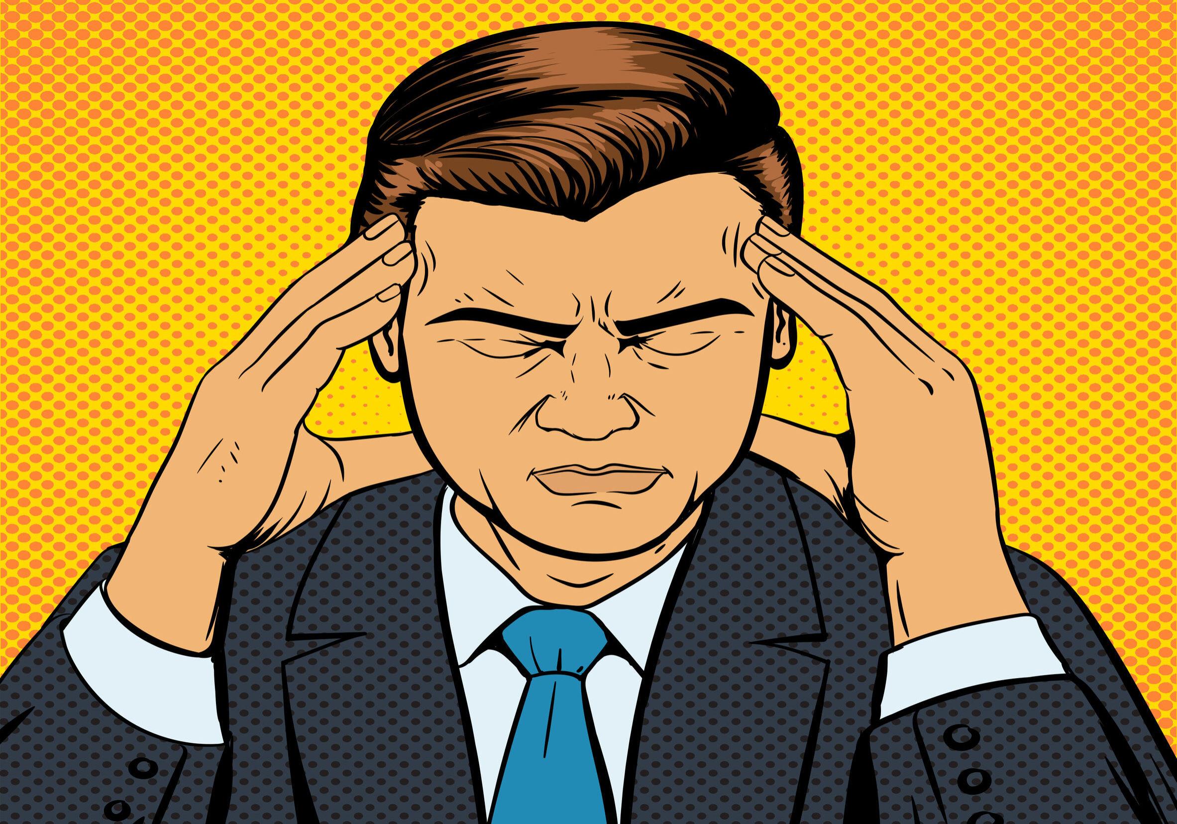Man suffering with headache, pop art style retro vector illustration. Medical illustration. Comic book style.