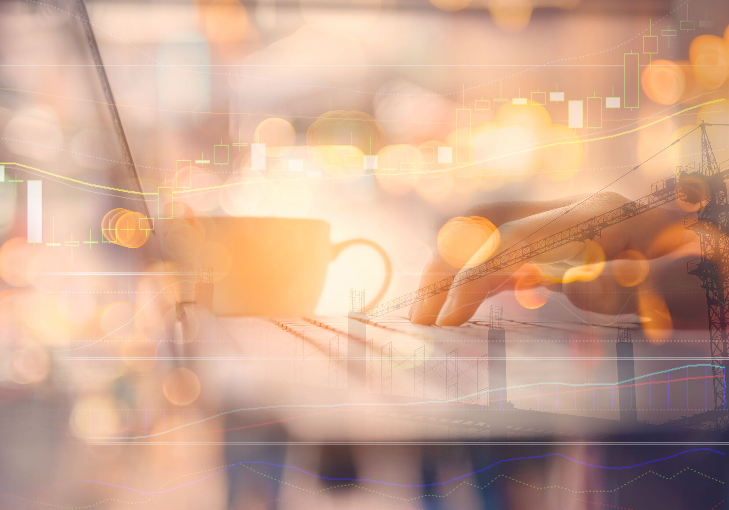 Business economic and technology working concept. Woman hand using notebook double expose with graph money stock trading and blur people bokeh light background. Vintage tone filter effect color style.